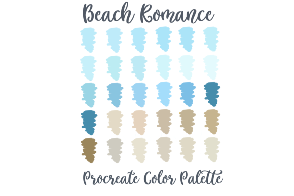Beach Romance Procreate Color Palette Gráfico Acciones y Pre-ajustes Por AM Digital Designs