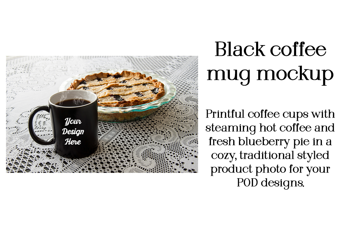 Download Free Black Coffee Mug Mockup Blueberry Pie Graphic By A Design In for Cricut Explore, Silhouette and other cutting machines.