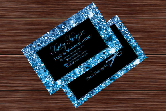Blue Glitter Makeup Artist Business Card Graphic Print Templates By sugamiart