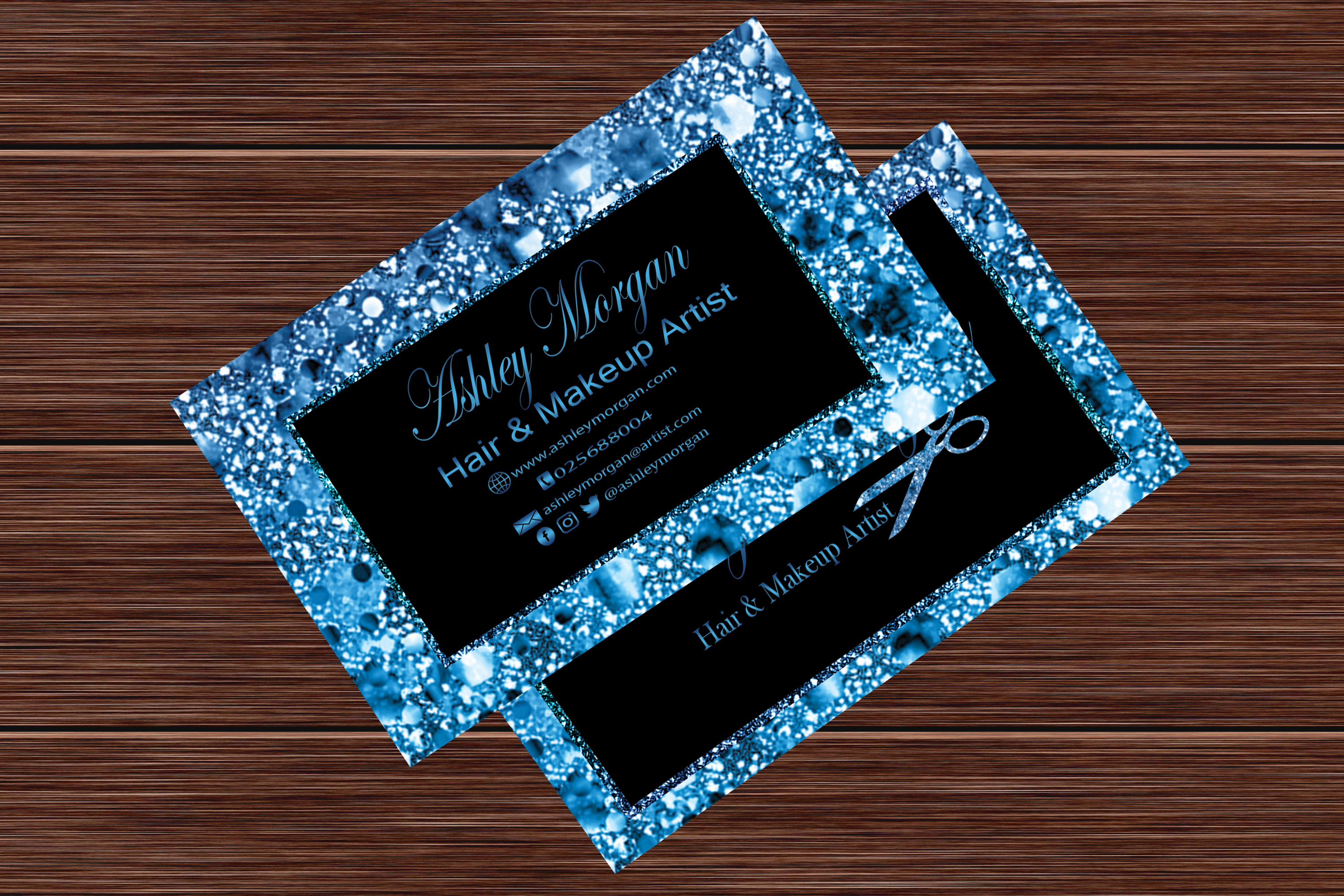Download Free Blue Glitter Makeup Artist Business Card Graphic By Sugamiart Creative Fabrica for Cricut Explore, Silhouette and other cutting machines.
