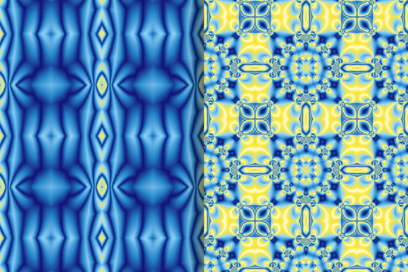 Download Free Blue Yellow Fractal Pattern Graphic By Emikundesigns Creative for Cricut Explore, Silhouette and other cutting machines.