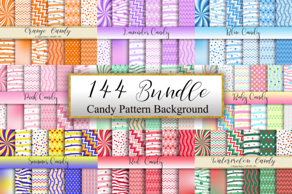Bundle Set Candy Pattern Background Graphic Patterns By PinkPearly