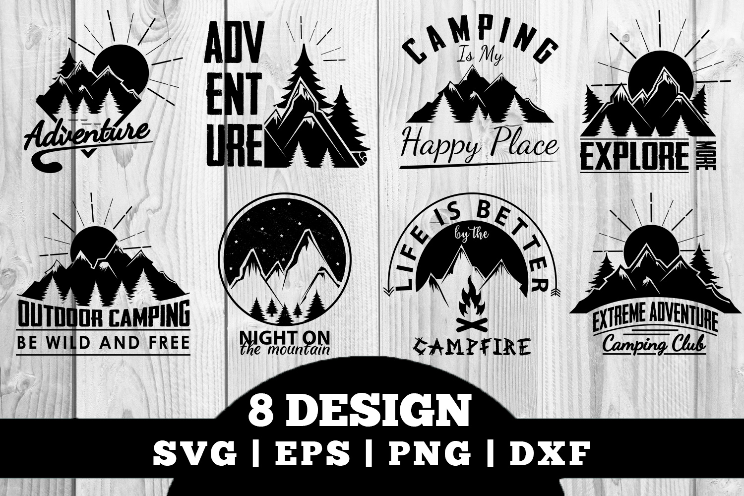 Download Free Camping Bundle Graphic By Damasyp Creative Fabrica for Cricut Explore, Silhouette and other cutting machines.