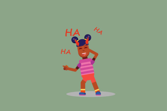 Download Free Character A Little Girl Laughing Graphic By Altumfatih for Cricut Explore, Silhouette and other cutting machines.