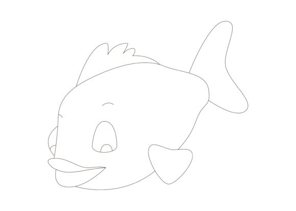 Download Free Children Coloring Fish Graphic By Studioisamu Creative Fabrica for Cricut Explore, Silhouette and other cutting machines.
