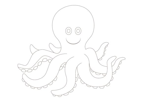 Print on Demand: Children Coloring Octopus Graphic Illustrations By studioisamu