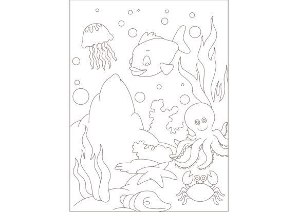 Print on Demand: Children Coloring Sea Graphic Illustrations By studioisamu