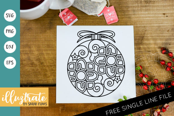 Print on Demand: Christmas Bauble Mandala Cut File Graphic Crafts By illuztrate
