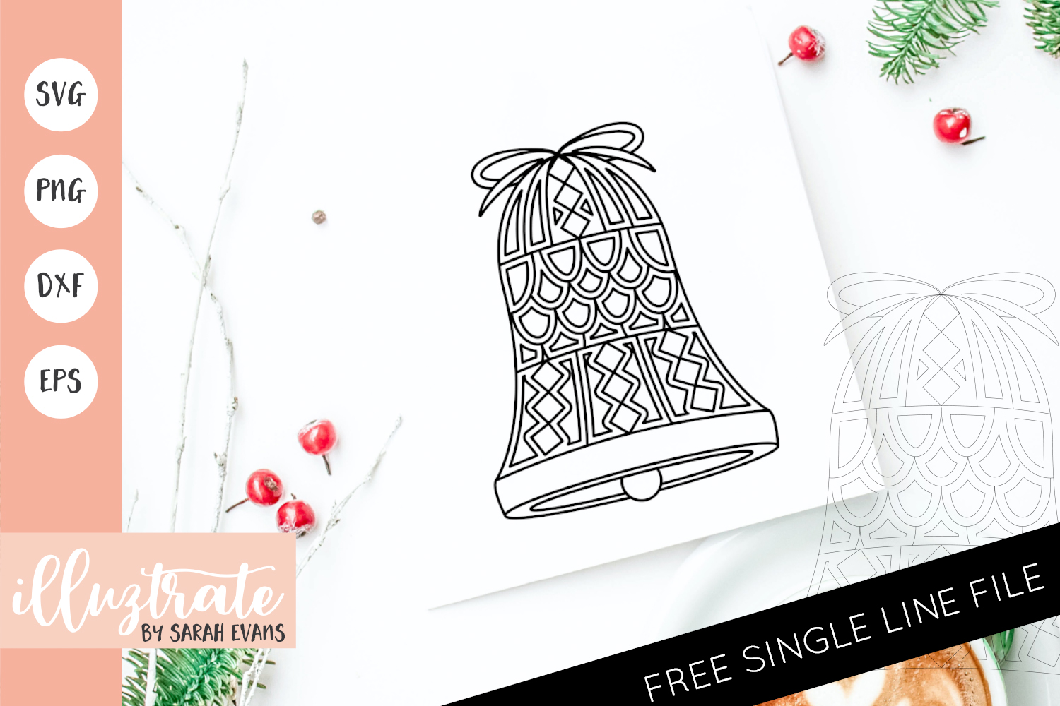 Download Free Christmas Bell Mandala Cut File Graphic By Illuztrate Creative for Cricut Explore, Silhouette and other cutting machines.