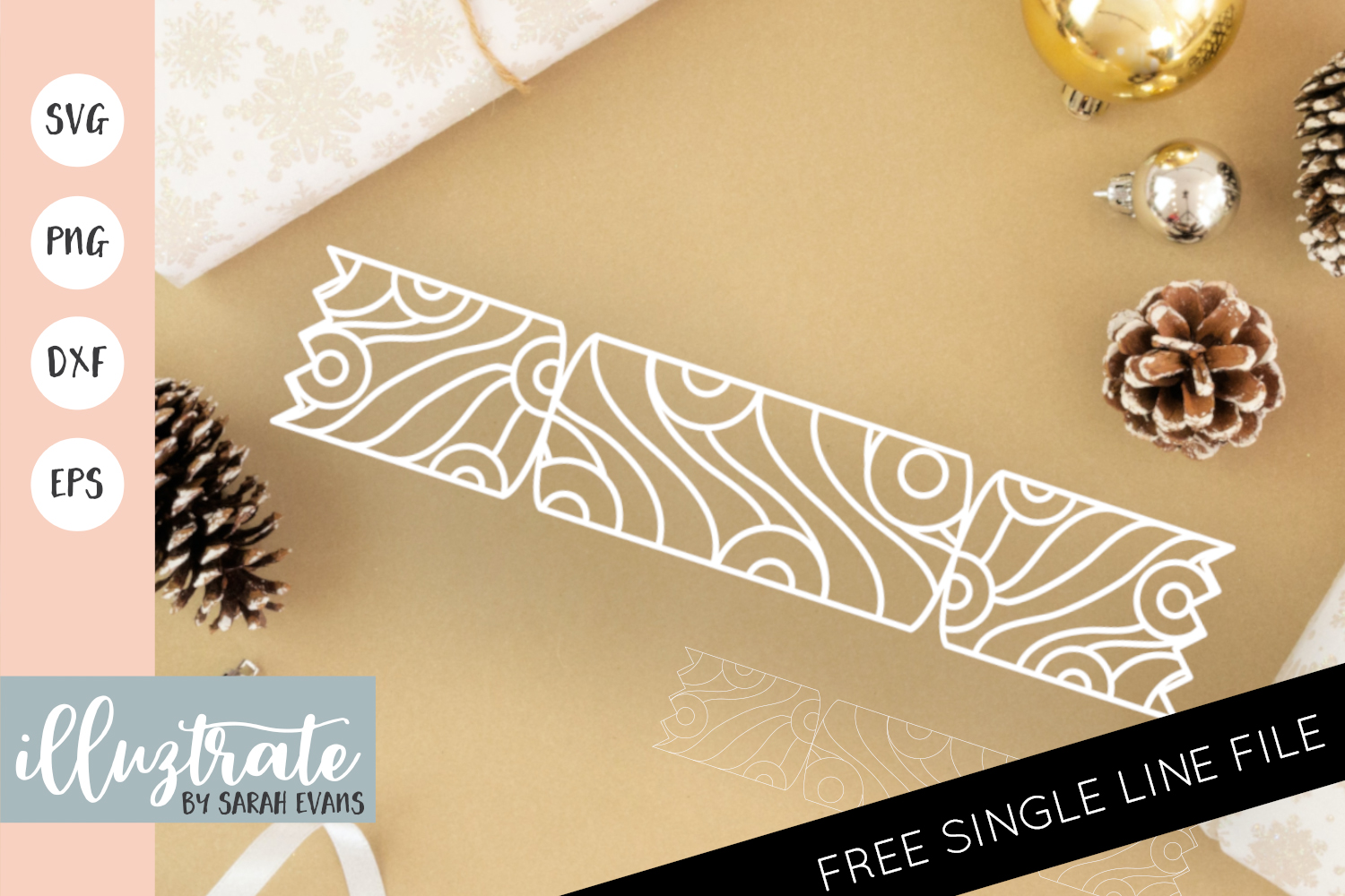 Download Free Christmas Cracker Mandala Cut File Graphic By Illuztrate for Cricut Explore, Silhouette and other cutting machines.