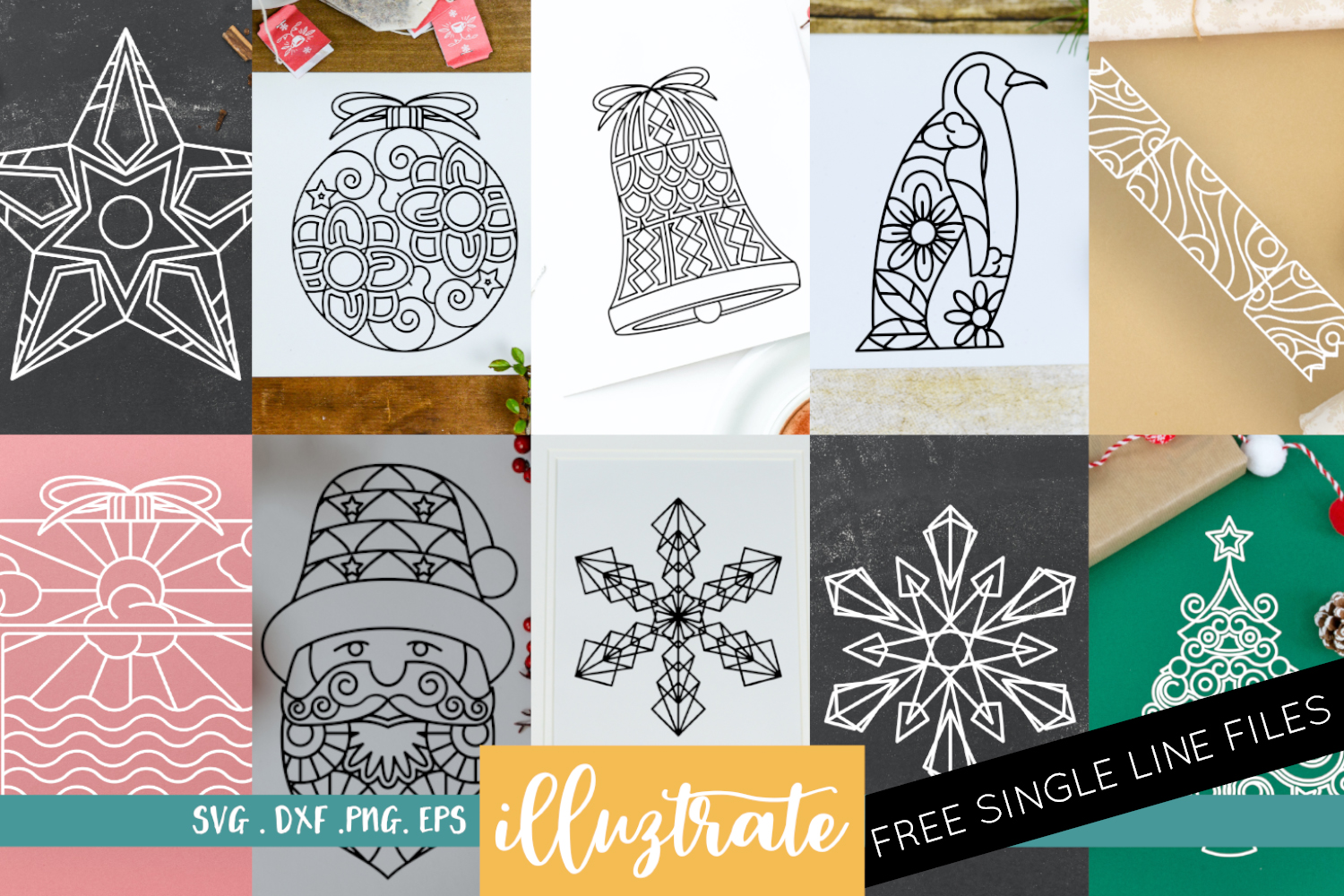 Download Free Christmas Mandala Bundle Cut Files Graphic By Illuztrate Creative Fabrica for Cricut Explore, Silhouette and other cutting machines.