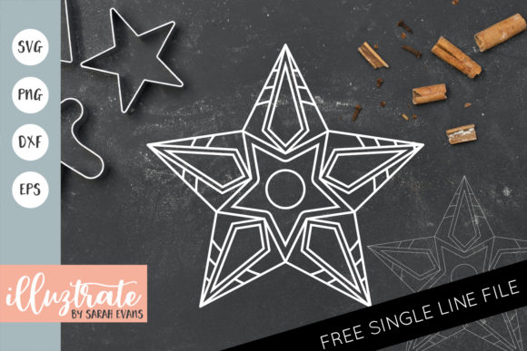 Download Free Christmas Star Mandala Cut File Graphic By Illuztrate Creative for Cricut Explore, Silhouette and other cutting machines.