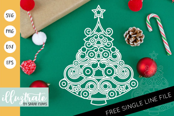 Print on Demand: Christmas Tree Mandala Cut File Gráfico Crafts Por illuztrate