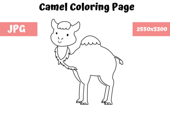 Print on Demand: Coloring Page for Kids - Camel Graphic Coloring Pages & Books Kids By MyBeautifulFiles