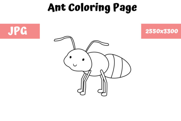 Download Free Coloring Page For Kids Ant Graphic By Mybeautifulfiles Creative Fabrica for Cricut Explore, Silhouette and other cutting machines.
