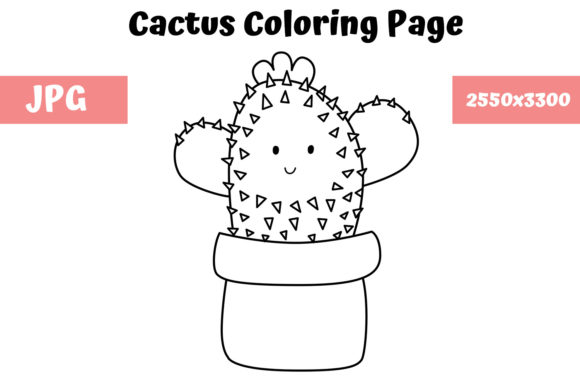 Download Free Coloring Page For Kids Cactus Graphic By Mybeautifulfiles for Cricut Explore, Silhouette and other cutting machines.