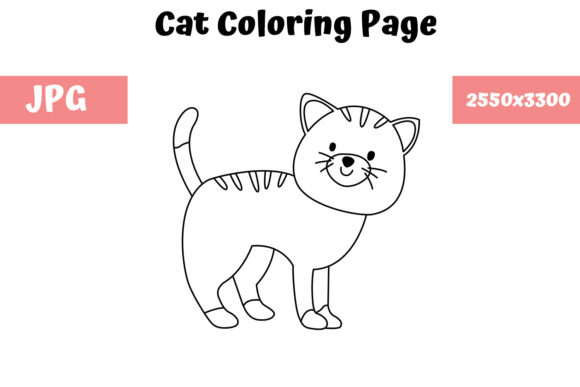 Print on Demand: Coloring Page for Kids - Cat Graphic Coloring Pages & Books Kids By MyBeautifulFiles