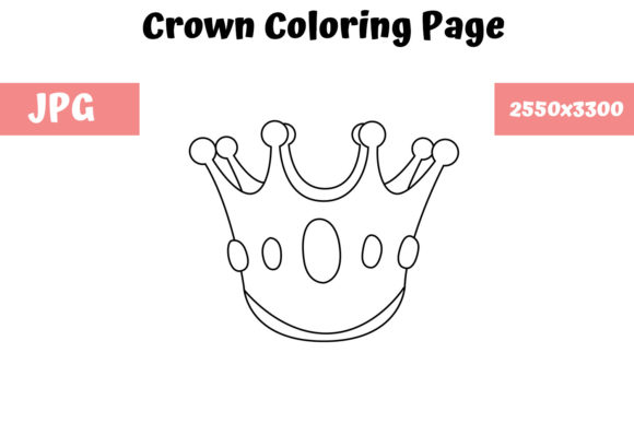 Print on Demand: Coloring Page for Kids - Crown Graphic Coloring Pages & Books Kids By MyBeautifulFiles