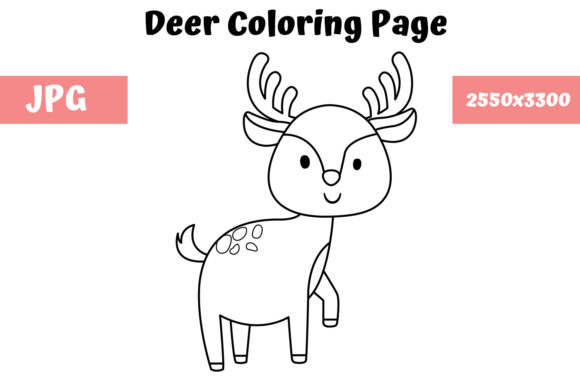 Print on Demand: Coloring Page for Kids - Deer Graphic Coloring Pages & Books Kids By MyBeautifulFiles
