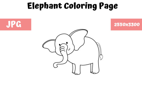 Print on Demand: Coloring Page for Kids - Elephant Graphic Coloring Pages & Books Kids By MyBeautifulFiles