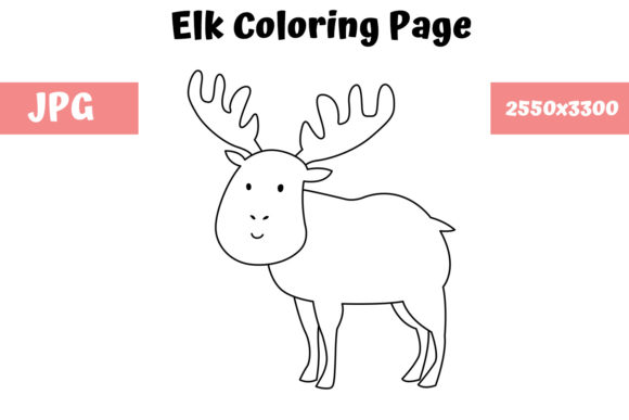 Print on Demand: Coloring Page for Kids - Elk Graphic Coloring Pages & Books Kids By MyBeautifulFiles