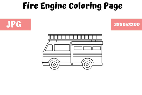 Download Free Coloring Page For Kids Fire Engine Graphic By Mybeautifulfiles for Cricut Explore, Silhouette and other cutting machines.