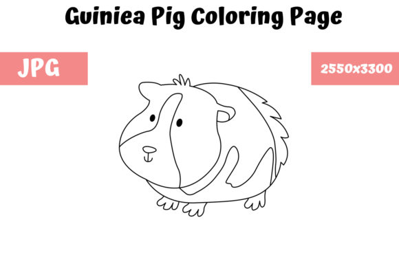 Print on Demand: Coloring Page for Kids - Guiniea Pig Graphic Coloring Pages & Books Kids By MyBeautifulFiles