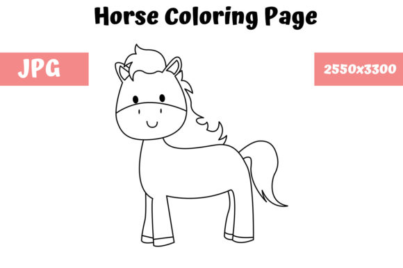 Print on Demand: Coloring Page for Kids - Horse Graphic Coloring Pages & Books Kids By MyBeautifulFiles