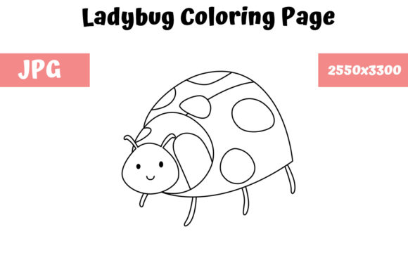 Download Free Coloring Page For Kids Ladybug Graphic By Mybeautifulfiles for Cricut Explore, Silhouette and other cutting machines.