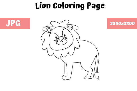 Download Free Coloring Page For Kids Lion Graphic By Mybeautifulfiles for Cricut Explore, Silhouette and other cutting machines.