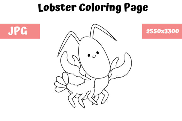 Print on Demand: Coloring Page for Kids - Lobster Graphic Coloring Pages & Books Kids By MyBeautifulFiles