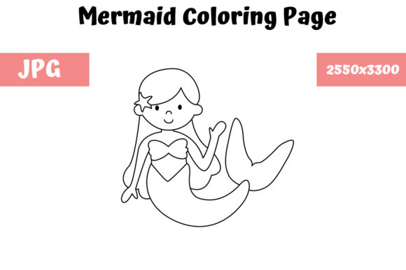 Print on Demand: Coloring Page for Kids - Mermaid Graphic Coloring Pages & Books Kids By MyBeautifulFiles