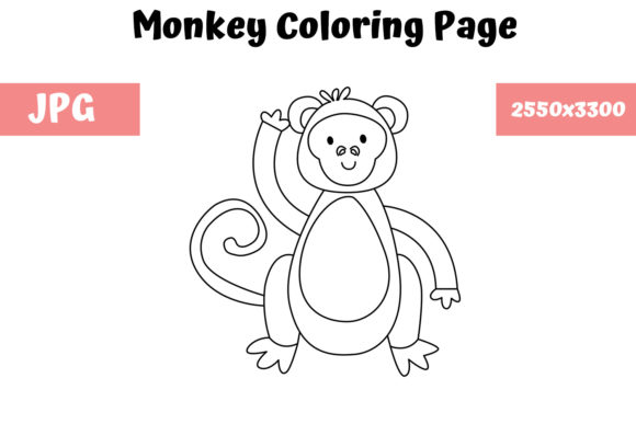 Download Free Coloring Page For Kids Monkey Graphic By Mybeautifulfiles for Cricut Explore, Silhouette and other cutting machines.