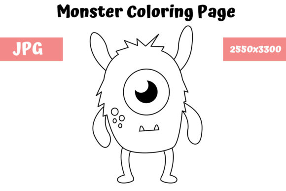 Print on Demand: Coloring Page for Kids - Monster 01 Graphic Coloring Pages & Books Kids By MyBeautifulFiles