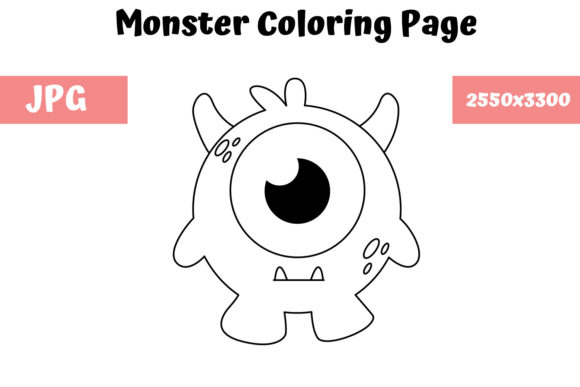 Print on Demand: Coloring Page for Kids - Monster 05 Graphic Coloring Pages & Books Kids By MyBeautifulFiles