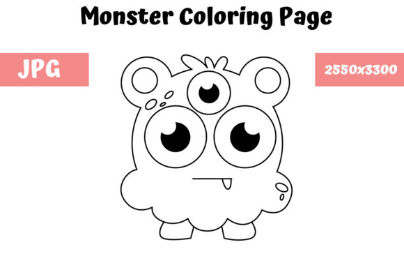 Download Free Coloring Page For Kids Monster 06 Graphic By Mybeautifulfiles for Cricut Explore, Silhouette and other cutting machines.