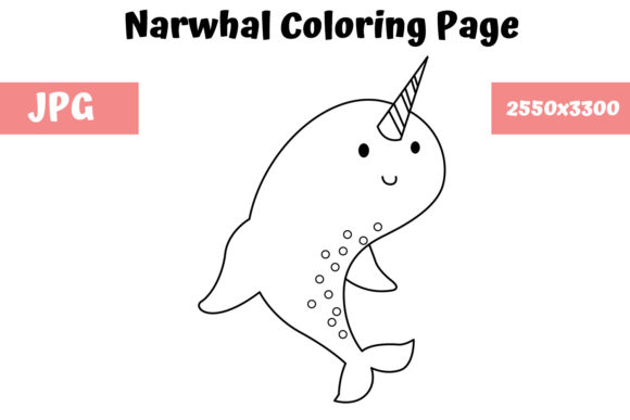 Print on Demand: Coloring Page for Kids - Narwhal Graphic Coloring Pages & Books Kids By MyBeautifulFiles