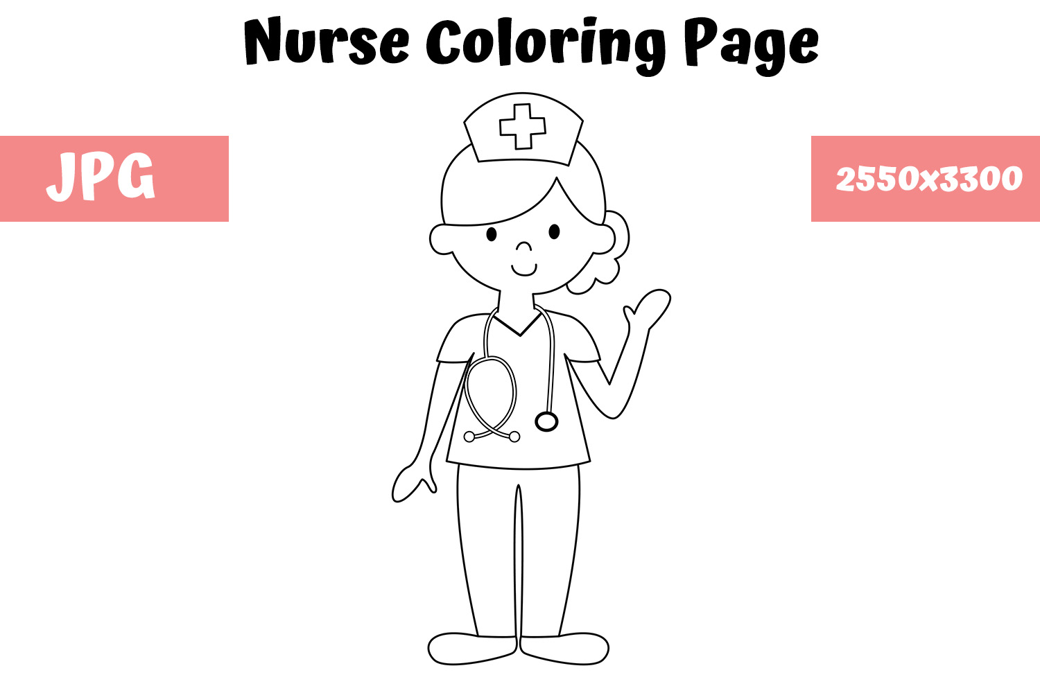 Download Free Coloring Page For Kids Nurse Graphic By Mybeautifulfiles for Cricut Explore, Silhouette and other cutting machines.