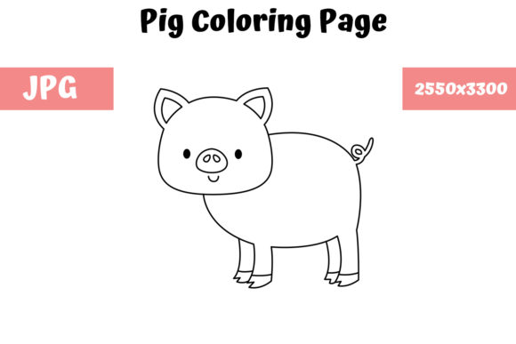 Print on Demand: Coloring Page for Kids - Pig Graphic Coloring Pages & Books Kids By MyBeautifulFiles