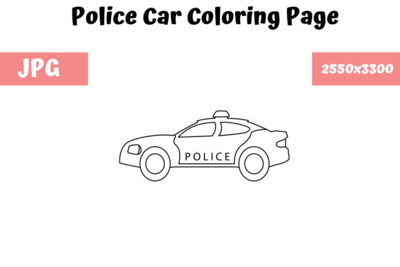 Print on Demand: Coloring Page for Kids - Police Car Graphic Coloring Pages & Books Kids By MyBeautifulFiles