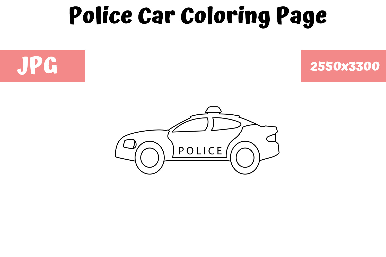 - Coloring Page For Kids - Police Car (Graphic) By MyBeautifulFiles