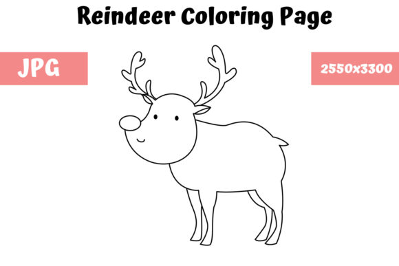 Print on Demand: Coloring Page for Kids - Reindeer Graphic Coloring Pages & Books Kids By MyBeautifulFiles