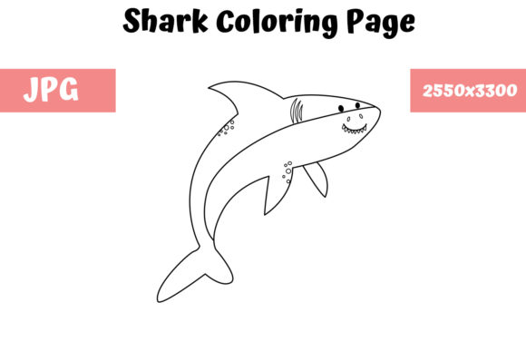 Download Free Coloring Page For Kids Shark Graphic By Mybeautifulfiles for Cricut Explore, Silhouette and other cutting machines.
