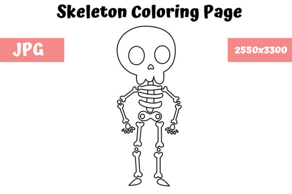 Print on Demand: Coloring Page for Kids - Skeleton Graphic Coloring Pages & Books Kids By MyBeautifulFiles