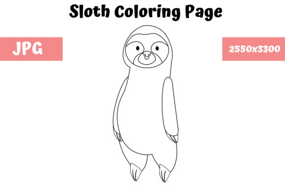 Print on Demand: Coloring Page for Kids - Sloth Graphic Coloring Pages & Books Kids By MyBeautifulFiles