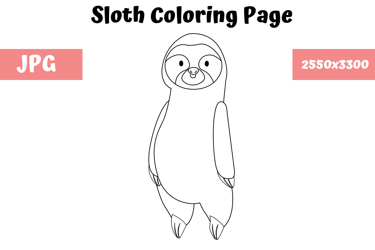- Coloring Page For Kids - Sloth (Graphic) By MyBeautifulFiles