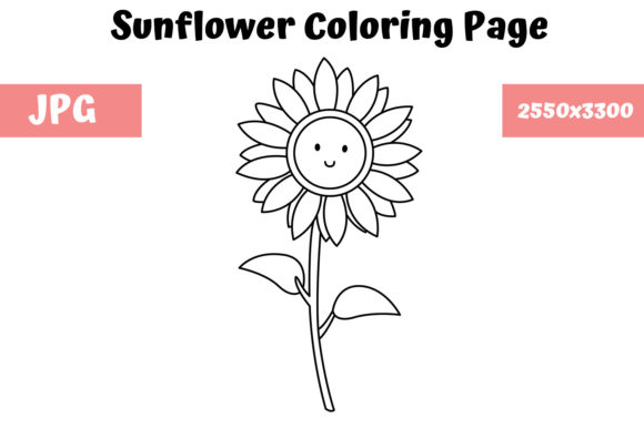 Print on Demand: Coloring Page for Kids - Sunflower Graphic Coloring Pages & Books Kids By MyBeautifulFiles