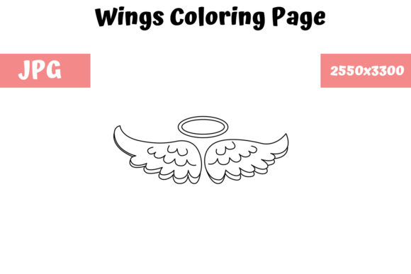 Download Free Coloring Page For Kids Wings Graphic By Mybeautifulfiles for Cricut Explore, Silhouette and other cutting machines.