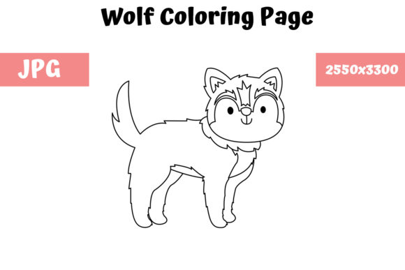 Print on Demand: Coloring Page for Kids - Wolf Graphic Coloring Pages & Books Kids By MyBeautifulFiles