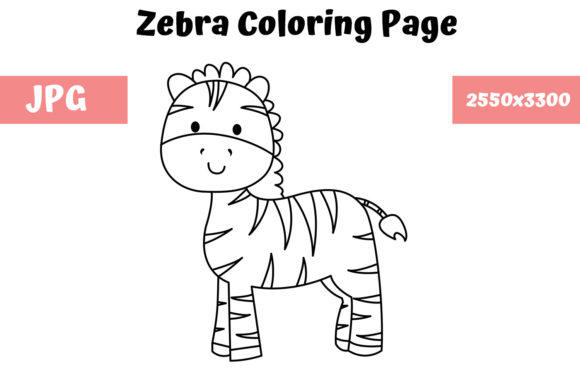 Print on Demand: Coloring Page for Kids - Zebra Graphic Coloring Pages & Books Kids By MyBeautifulFiles